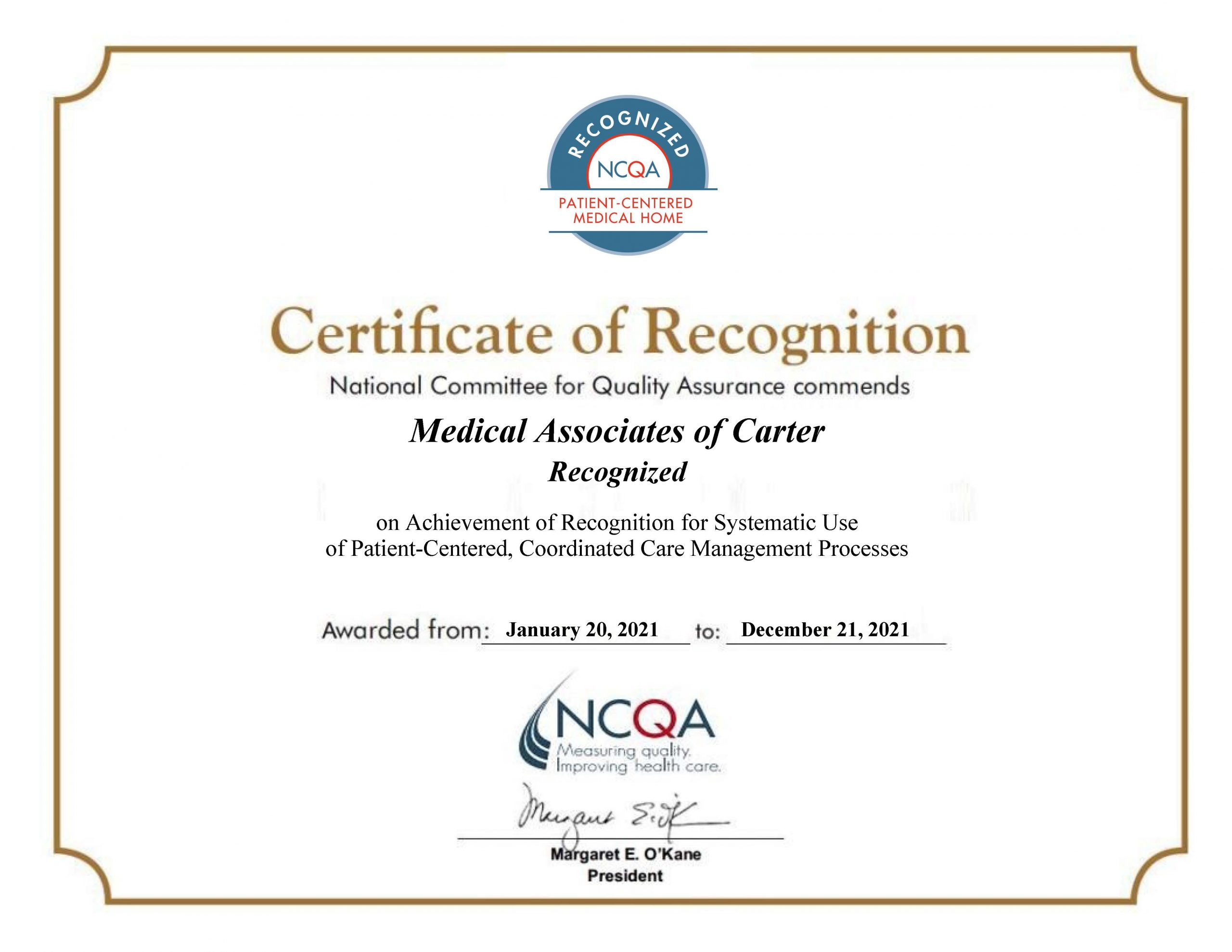 Medical Associates of Carter Recognized as PCMH